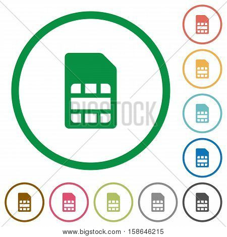 SIM card flat color icons in round outlines