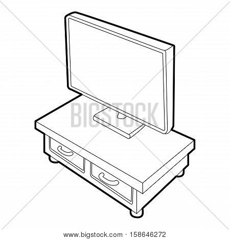 Wooden TV cabinet with TV icon. Isometric 3d illustration of wooden TV cabinet with TV vector icon for web