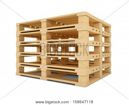 Wooden euro pallets isolated on white background. 3D rendering