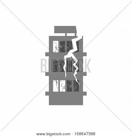War Broken Building. Cracks And Splinters Of Destroyed Facility. Hurricane Demolition House. Earthqu
