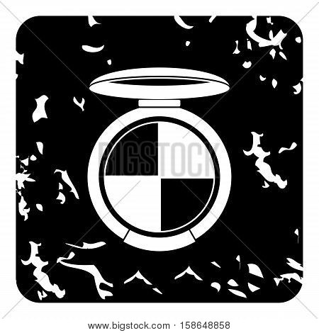 Round palette eye shadow icon. Grunge illustration of eye shadow vector icon for web design