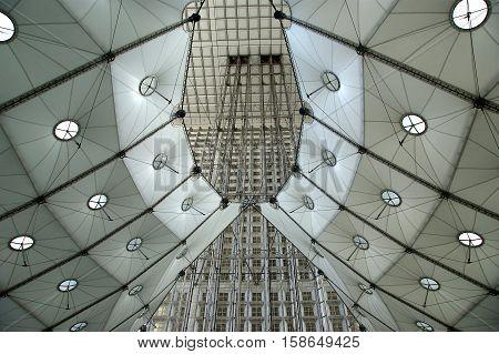 La Grande Arche. La Defense, Commercial And Business Center Of Paris, France.