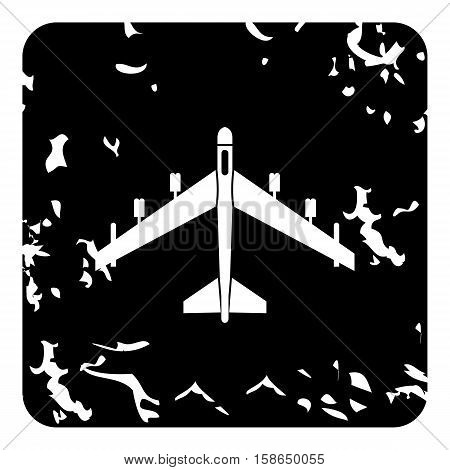 Plane icon. Grunge illustration of plane vector icon for web design