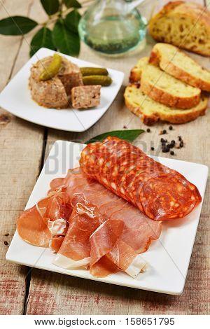 Spanish tapas with ham pâté and pickles