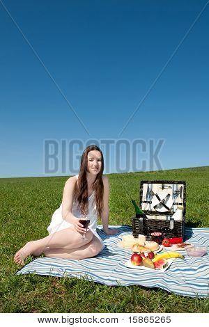 Beautiful Young Woman Having A Picnic