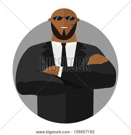 Security sign safety icon flat design. Black man - security guard with crossed hands in suit. Vector illustration