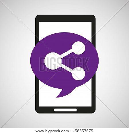 black mobile phone share network vector illustration eps 10