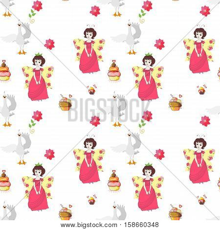 Seamless vector pattern with fairies swans cakes and flowers. Illustration for children.