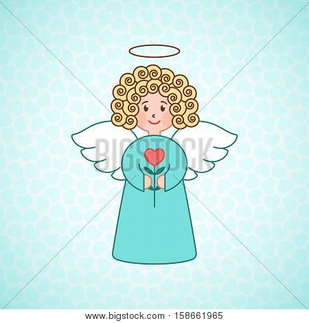 Doodle angel with a heart. Cute girl with wings. Romantic greeting card. Graphic design element for wedding and baby shower invitation, Valentines Day card. Cartoon angel with flower.