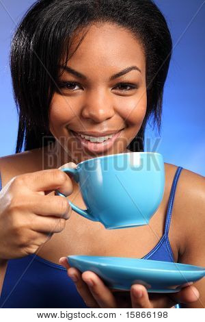 Beautiful Smiling Black Drinking Tea