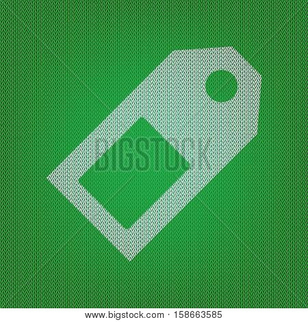 Price Tag Sign. White Icon On The Green Knitwear Or Woolen Cloth