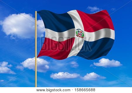 Dominican Republic national official flag. Patriotic symbol banner element background. Correct colors. Flag of Dominican Republic on flagpole waving in the wind blue sky background. Fabric texture. 3D rendered illustration