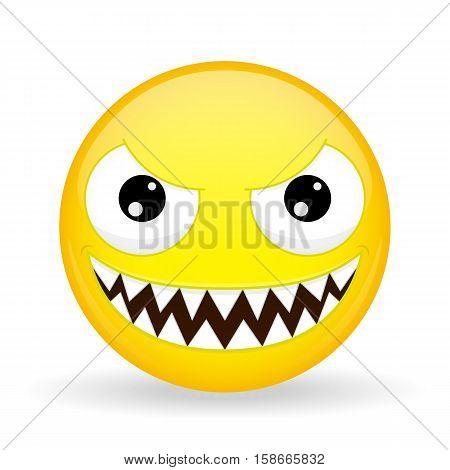 Monster emoji. Emotion of laughter. Nibbler emoticon. Cartoon style. Vector illustration smile icon.