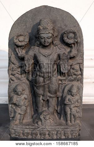 KOLKATA, INDIA - FEBRUARY 09:  Composite image of Surya, from 10th century found in Basalt, Bihar now exposed in the Indian Museum in Kolkata West Bengal, India on February 09, 2016.