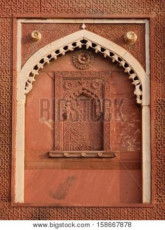 AGRA, INDIA - FEBRUARY 14 : Unique architectural details of Red Fort, Agra, UNESCO World heritage site, India on February 14, 2016.