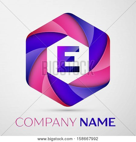 E Letter colorful logo in the hexagonal on grey background. Vector template for your design