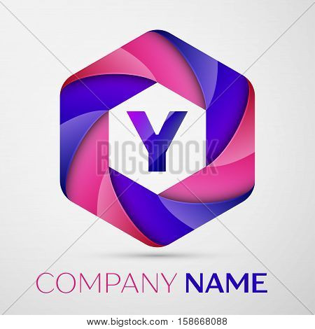 Y Letter colorful logo in the hexagonal on grey background. Vector template for your design