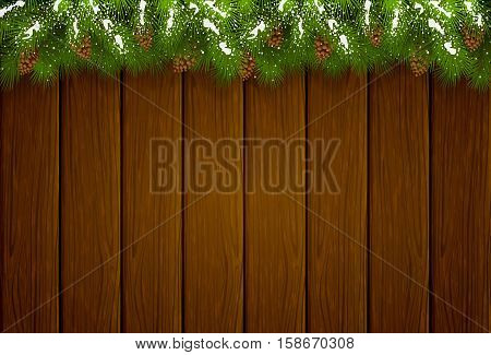 Winter decorations with snow, Christmas theme with pinecone, decorative spruce branches and pine cones on a brown wooden background, illustration.