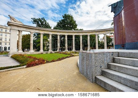 Vienna, Austria, October 13, 2016: War Memorial -  Heroes Monument Of Red Army On Schwarzenbergplatz