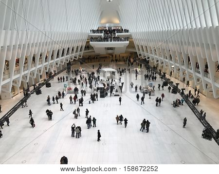 NEW YORK CITY, World Trade Center (USA) - November 16, 2016. Inside the Oculus mall at the World Center in New York.
