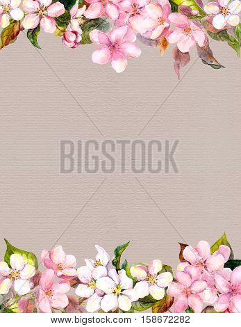 Pink flowers - apple, cherry blossom. Floral frame for background. Watercolour on paper
