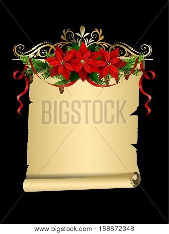 Christmas decoration with evergreen treess holly and pinecone and poinsettia and ribbon isolated on empty paper roll for your wish list