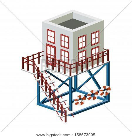 full color with Rescue operations center vector illustration
