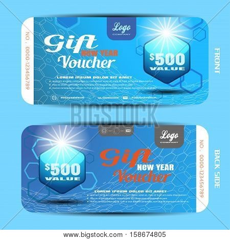Vector gift new year voucher on the blue gradient background with hexagon badge and pattern.