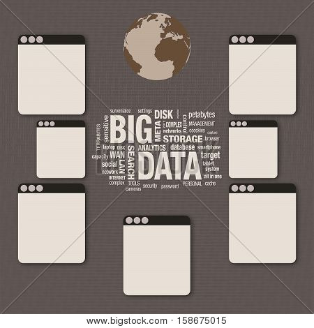 Big Data word cloud collage technology concept digital layer effect