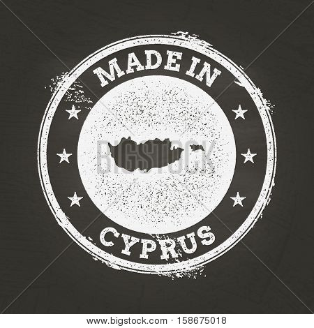 White Chalk Texture Made In Stamp With Republic Of Cyprus Map On A School Blackboard. Grunge Rubber