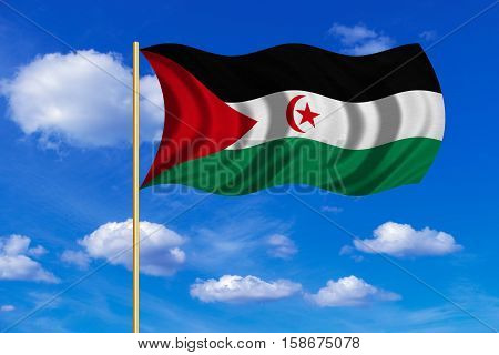 Sahrawi national official flag. Western Sahara patriotic symbol. SADR banner. Correct color. Flag of Sahrawi Arab Democratic Republic on flagpole waving in the wind blue sky background. Fabric texture. 3D rendered illustration