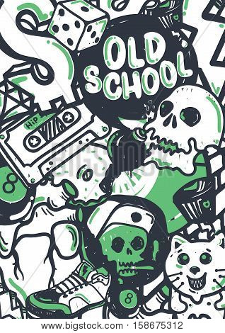 Graffiti vector stuff background sticker poster Colorful Doodle pattern in green black and white color. Used clipping mask for easy editing.
