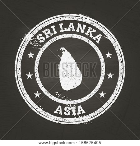 White Chalk Texture Grunge Stamp With Democratic Socialist Republic Of Sri Lanka Map On A School Bla