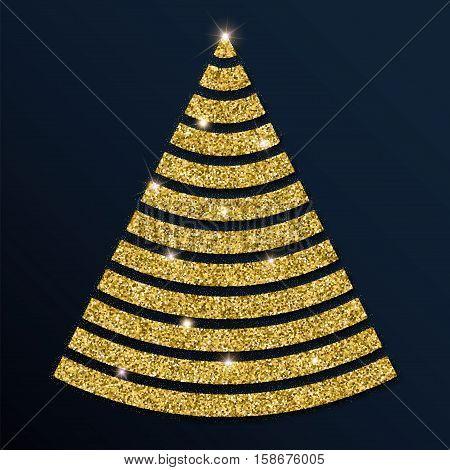 Golden Glitter Magnificent Christmas Tree. Luxurious Christmas Design Element, Vector Illustration.