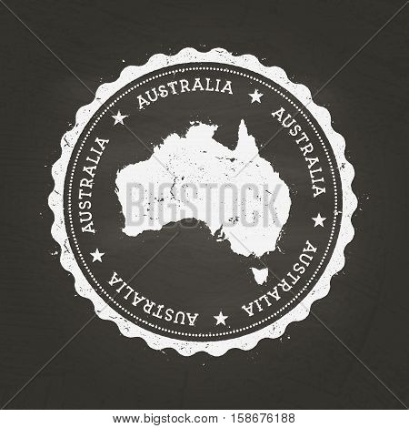 White Chalk Texture Rubber Stamp With Commonwealth Of Australia Map On A School Blackboard. Grunge R