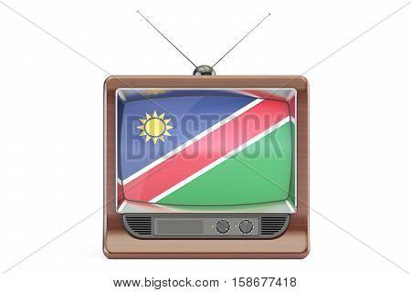 old tv with flag of Namibia. Television concept 3D rendering
