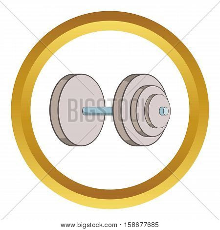Heavy dumbbell vector icon in golden circle, cartoon style isolated on white background