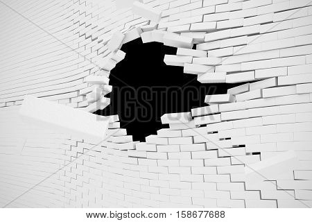 Explosion, destruction of a white brick wall, abstract background for Template for a content. 3d illustration.