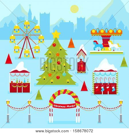 Christmas Market Fair with Winter Holidays Traditional Kiosks, Christmas Tree and Carousel. Vector illustration