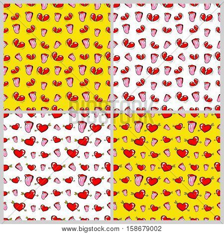 Lips and Hearts Seamless Pattern Set. Love and Fashion Backgrounds in Retro Style. Vector illustration
