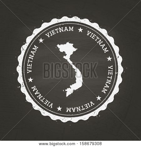 White Chalk Texture Rubber Stamp With Socialist Republic Of Vietnam Map On A School Blackboard. Grun