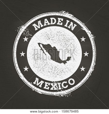 White Chalk Texture Made In Stamp With United Mexican States Map On A School Blackboard. Grunge Rubb