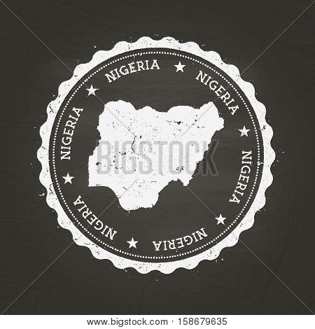 White Chalk Texture Rubber Stamp With Federal Republic Of Nigeria Map On A School Blackboard. Grunge