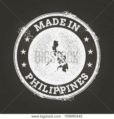 White Chalk Texture Made In Stamp With Republic Of The Philippines Map On A School Blackboard. Grung