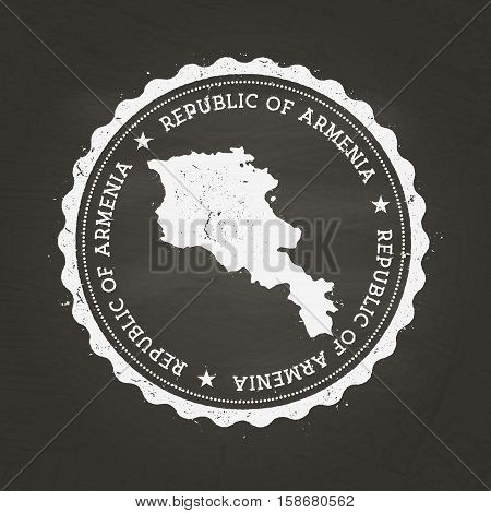 White Chalk Texture Rubber Stamp With Republic Of Armenia Map On A School Blackboard. Grunge Rubber