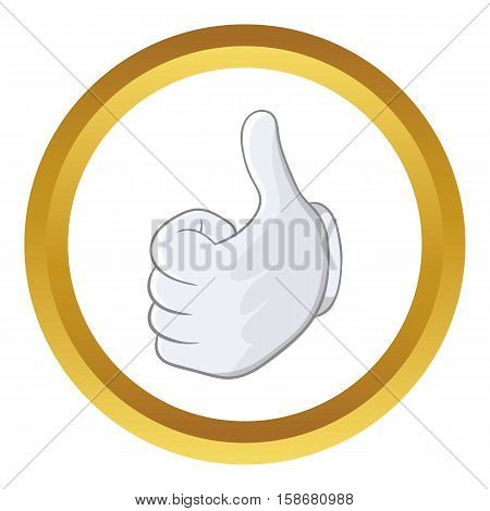 Thumbs up vector icon in golden circle, cartoon style isolated on white background