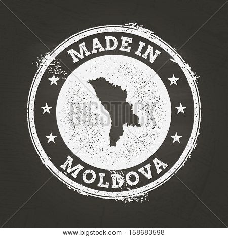 White Chalk Texture Made In Stamp With Republic Of Moldova Map On A School Blackboard. Grunge Rubber