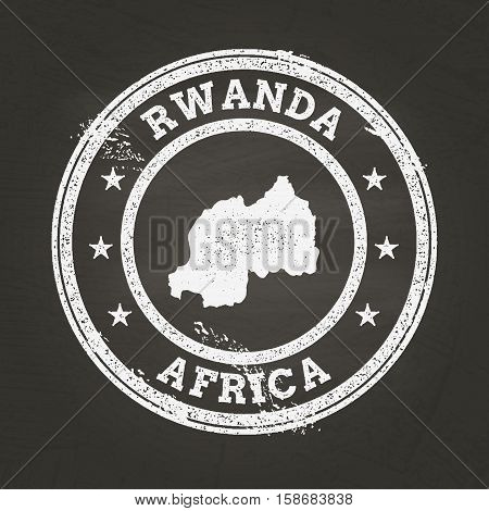 White Chalk Texture Grunge Stamp With Republic Of Rwanda Map On A School Blackboard. Grunge Rubber S