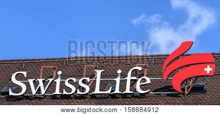 Zurich, Switzerland - 4 April, 2016: Swiss Life sign on the roof of a building. The Swiss Life Group is the largest life insurance company in Switzerland and one of Europe's leading comprehensive life and pensions and financial solutions providers.