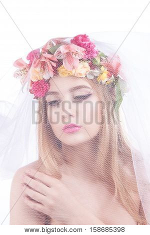 Portrait Of A Young Beautiful Girl. Bride In Veil.